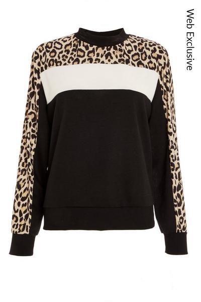 Black & Stone Leopard Print Top